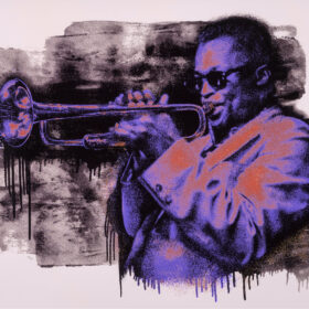 Mr Brainwash - Miles Davis - Purple/Orange